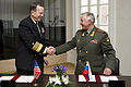 Defense.gov News Photo 110506-N-TT977-287 - Chairman of the Joint Chiefs of Staff Adm. Mike Mullen congratulates Chief of the General Staff of the Armed Forces of Russia Gen. Nikolai Makarov.jpg