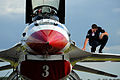Defense.gov News Photo 110630-F-KA253-057 - U.S. Air Force Staff Sgt. Stephen Leonardi a crew chief with the Air Force s air demonstration team the Thunderbirds checks for loose screws on.jpg