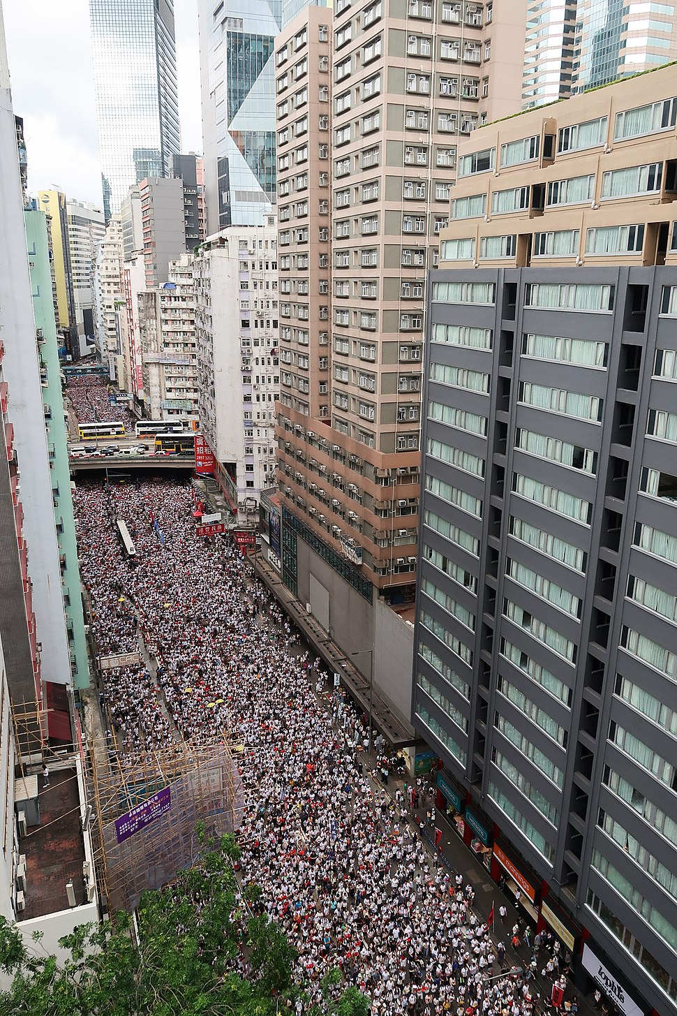 Demonstration in Wan Chai Hennessy Road overview 20190609