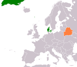Map indicating locations of Denmark and Belarus