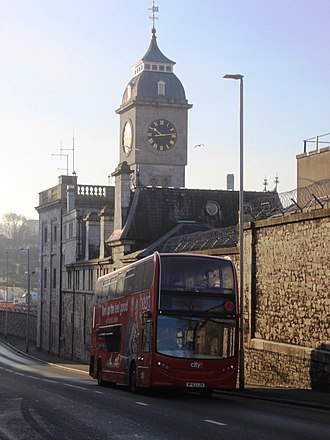 HMNB Devonport - Clock tower and police office (formerly one of a pair flanking the gate to Keyham Steam Yard)