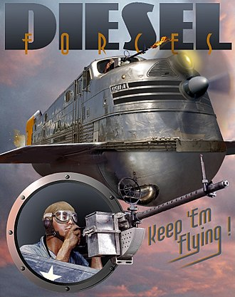 Retrofuturism - Retrofuturistic depiction of a flying locomotive, in a dieselpunk style reminiscent of the early 1940s
