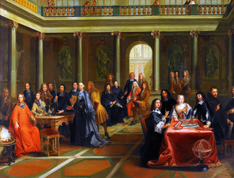 1649 in philosophy - Queen Christina (at the table on the right) in discussion with French philosopher René Descartes. (Romanticized painting from the 19th century)