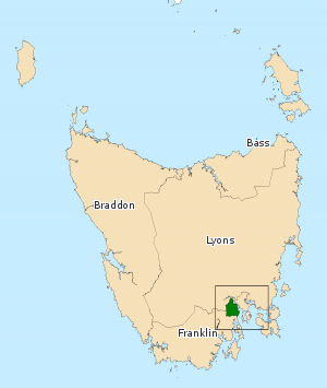 Division of Denison - Division of Denison in Tasmania, as of the 2016 federal election.