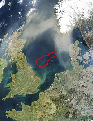 Dogger Bank - Outline (in red) of the Dogger Bank