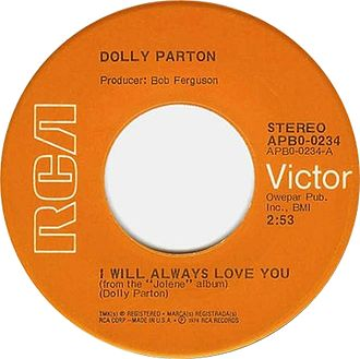 I Will Always Love You - A-side label of the original 1974 45 rpm release