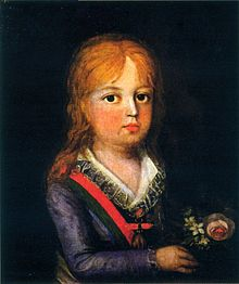 Painting with a half-length portrait of a young child with wavy auburn hair, wearing a blue jacket, open-necked lace-trimmed shirt, and striped sash, and holding a small bouquet of flowers