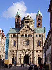 The Romanesque Revival facade of Speyer Cathedral, architect- Heinrich Hübsch, 1854-1858.