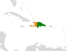 Map indicating locations of Dominican Republic and Haiti