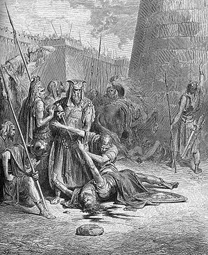 Abimelech (Judges) - Gustave Doré, The Death of Abimelech.