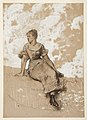"Drawing, A Seated Girl; study for ""The Garden Wall"", 1878 (CH 18174883).jpg"
