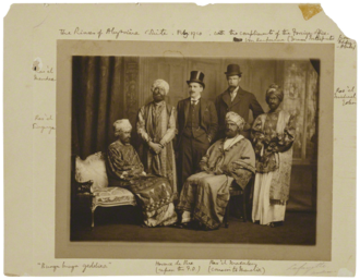 Hoax - The Dreadnought hoaxers in Abyssinian regalia; the bearded figure on the far left is in fact the writer Virginia Woolf.