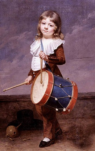 Martin Drolling - Portrait of his son Michel Martin Drolling as a drummer boy