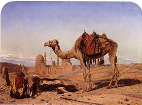 Dromedary and Arabs at the City of the Dead, Cairo, with the Tomb of Sultan El Barkook in the Background.jpg