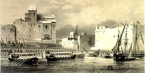Ahmad I ibn Mustafa - The duc de Montpensier received at La Goulette in June 1846 by a guard of honour of the beylical army. To the left is a portion of the Al Sharfiya summer palace, which no longer remains
