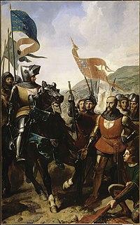 Jean de Grailly (à droite), se rend à du Guesclin lors de la bataille de Cocherel.