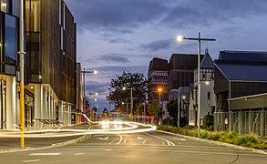 Durham Street during the blue hour, Christchurch, New Zealand.jpg