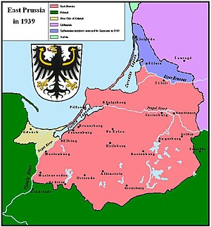 1939 German ultimatum to Lithuania - East Prussia after the ultimatum took force; the Klaipėda Region/Memelland is depicted in blue and East Prussia in pink.