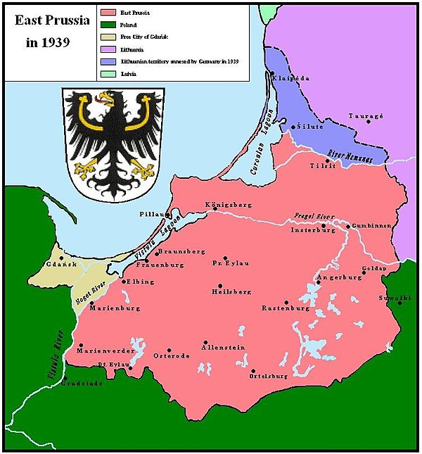 East Prussia after the ultimatum took force; the Klaipeda Region/Memelland is depicted in blue and East Prussia in pink. East Prussia 1939.JPG