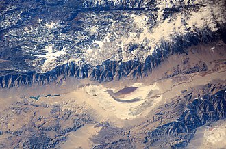 Delamination (geology) - California's Sierra Nevada Mountains (formed by delamination) as seen from the International Space Station.