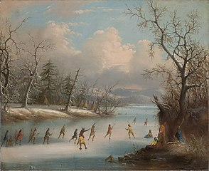 Indians Playing Lacrosse on theIce