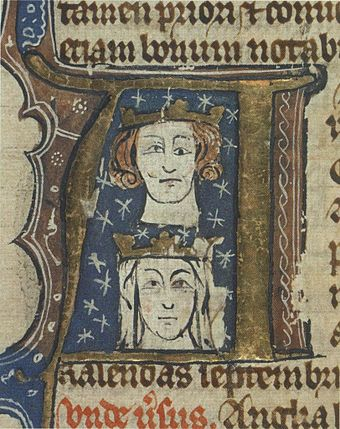 Early fourteenth-century manuscript initial showing Edward and his wife Eleanor. The artist has perhaps tried to depict Edward's blepharoptosis, a trait he inherited from his father. Edward I and Eleanor.jpg