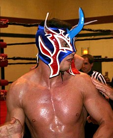 An adult shirtless white male wearing a red, white, and blue mask.