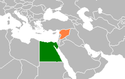 Map indicating locations of Egypt and Syria