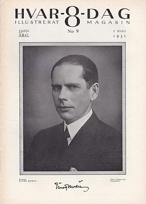 Einar Modig - Einar Modig on the cover of Hvar-8-Dag no. 9, 1931.