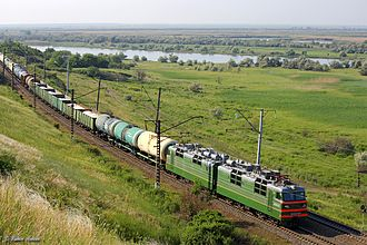 Rail freight transport - Freight train in Rostov Oblast, Russia