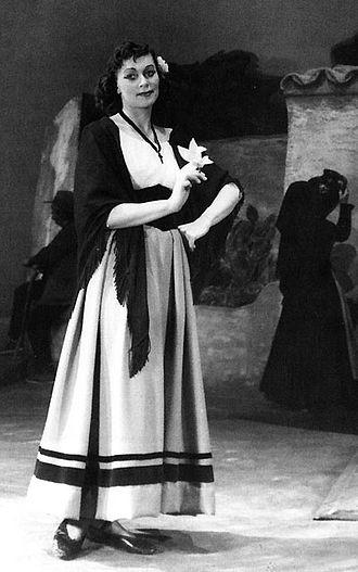 Elisabeth Söderström - As Lola in Cavalleria rusticana, Royal Swedish Opera Stockholm, 1954.