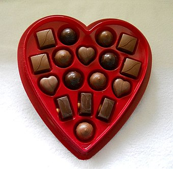 A gift box of chocolates, which is a common gift for Valentine's Day Elmer Valentine boxed chocolates.jpg