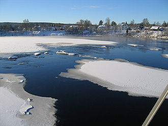 Elverum - View of the west side of the river Glomma from Gammelbrua