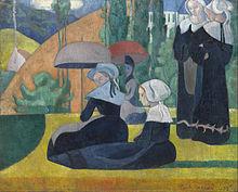 Donne bretoni con l'ombrello