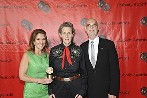 Temple Grandin (film) - Emily Gerson Saines, Temple Grandin and Mick Jackson at the 70th Annual Peabody Awards