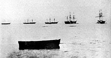 Part of the fleet of Enomoto Takeaki off Shinagawa. From left to right: Mikaho, Chōgei, Kanrin, Kaiyō, Kaiten. The Banryū and Chiyodagata are absent. 1868 photograph