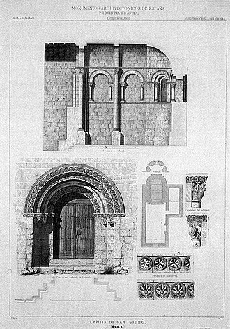 Ermita de San Pelayo y San Isidoro - Drawing of Francisco Aznar within the work Architectural Monuments of Spain ', 1856-1882