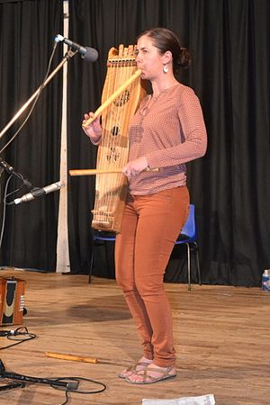 Psalterium (instrument) - A psalterium player in Occitania.