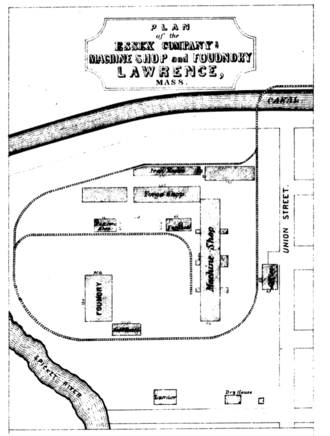 Essex Company Machine Shop - Site plan of the Essex Company complex as it appeared in 1850. Note that north is at the bottom of the plan.