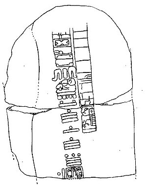 Matthew Stirling - The back of Stela C at Tres Zapotes The bars and circles show the Maya-style long-count date of 7.16.6.16.18. The glyphs surrounding the date are what is thought to be one of the few surviving examples of Epi-Olmec script.