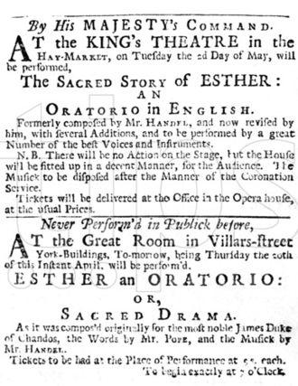 "Esther (Handel) - Original playbill for Handel's oratorio ""Esther"" 1732"