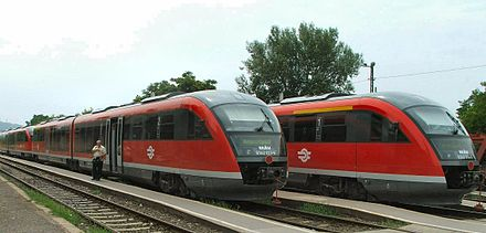 Siemens Desiro on Hungarian State Railways network, which is one of the densest in the world Esztergom.desiro.JPG
