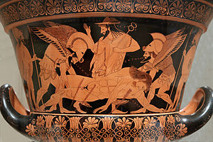 "Hermes - Sarpedon's body carried by Hypnos and Thanatos (Sleep and Death), while Hermes watches. Side A of the so-called ""Euphronios krater"", Attic red-figured calyx-krater signed by Euxitheos (potter) and Euphronios (painter), c. 515 BC."