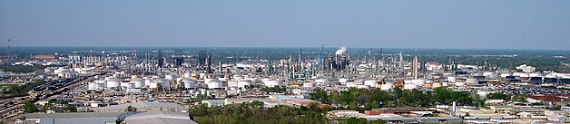 The ExxonMobil oil refinery seen from the capitol tower