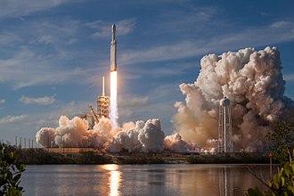 Falcon Heavy launch, February 6th 2018 (SpaceX via Wikipedia)