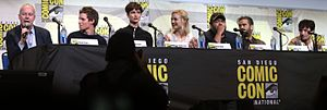 Fantastic Beasts and Where to Find Them (film) -  Fantastic Beasts panel at the 2016 San Diego Comic Con International (left to right): director Yates; actors Redmayne, Waterston, Sudol, Fogler, Farrell, Miller.
