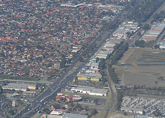 Upfield railway line - Aerial view of the Upfield line crossing the Western Ring Road in Fawkner