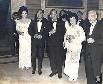 Eisaku Satō - Satō and his wife with Ferdinand and Imelda Marcos