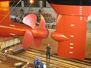 The rudder and propeller on a newly built ferry