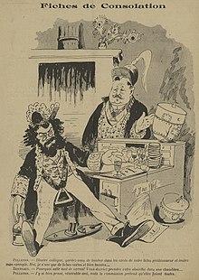 Desenho monocromático de Pelletan sentado em frente a uma mesa coberta com copos de absinto;  Maurice Berteaux está parado ao lado dele.